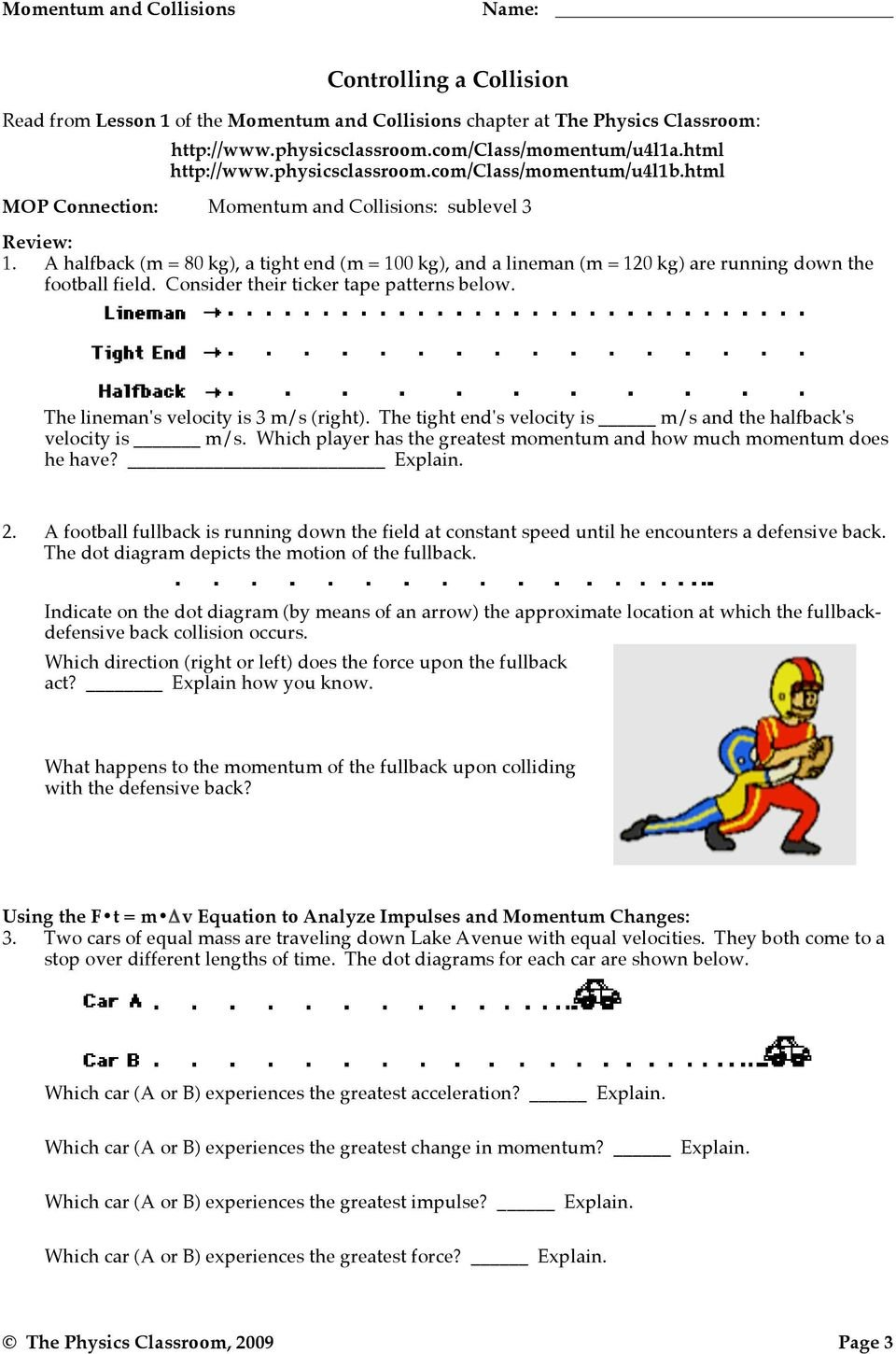 Momentum Impulse And Momentum Change  Pdf Intended For Momentum And Collisions Worksheet Answers Physics Classroom