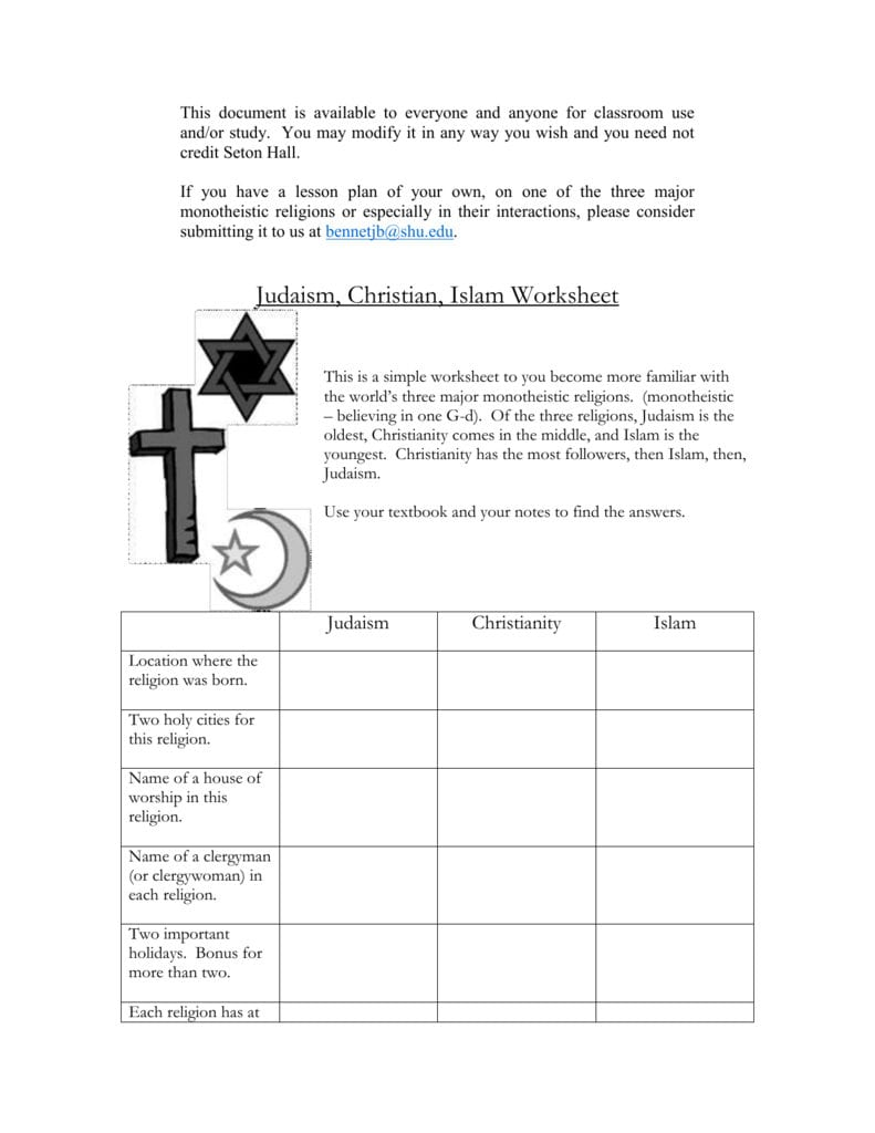 Monotheistic Religions Worksheet Also World Religions Worksheets