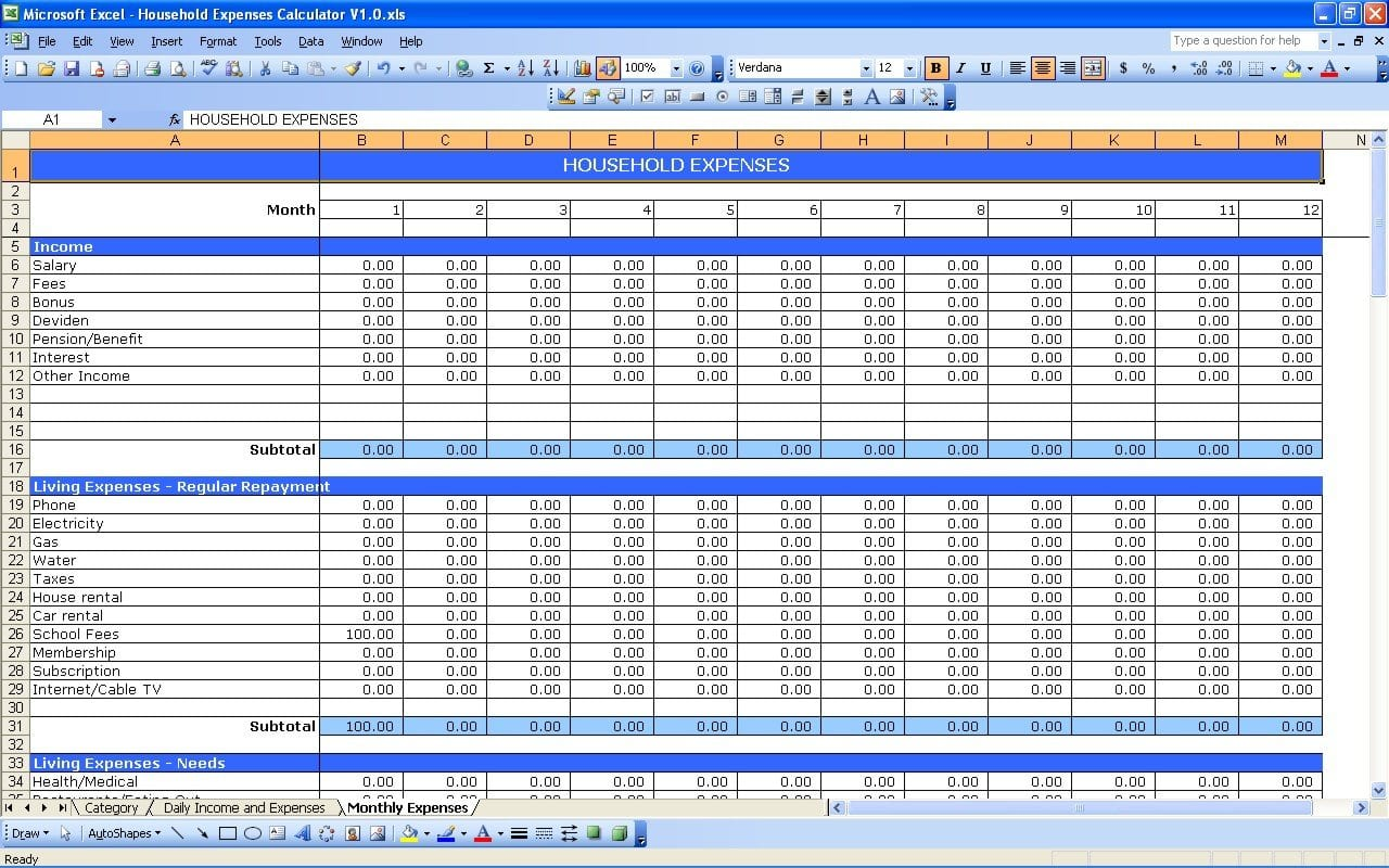Monthly Expense Excel Template Microsoft Office Household Budget Along With Financial Expenses Worksheet
