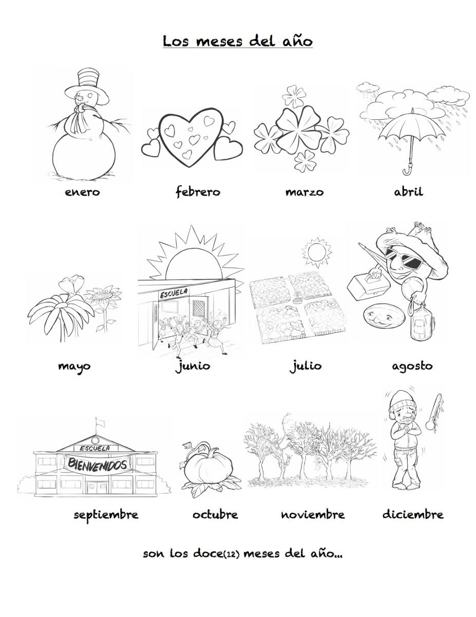Months Of The Year In Spanish  Rockalingua Inside Spanish Worksheets For Kids