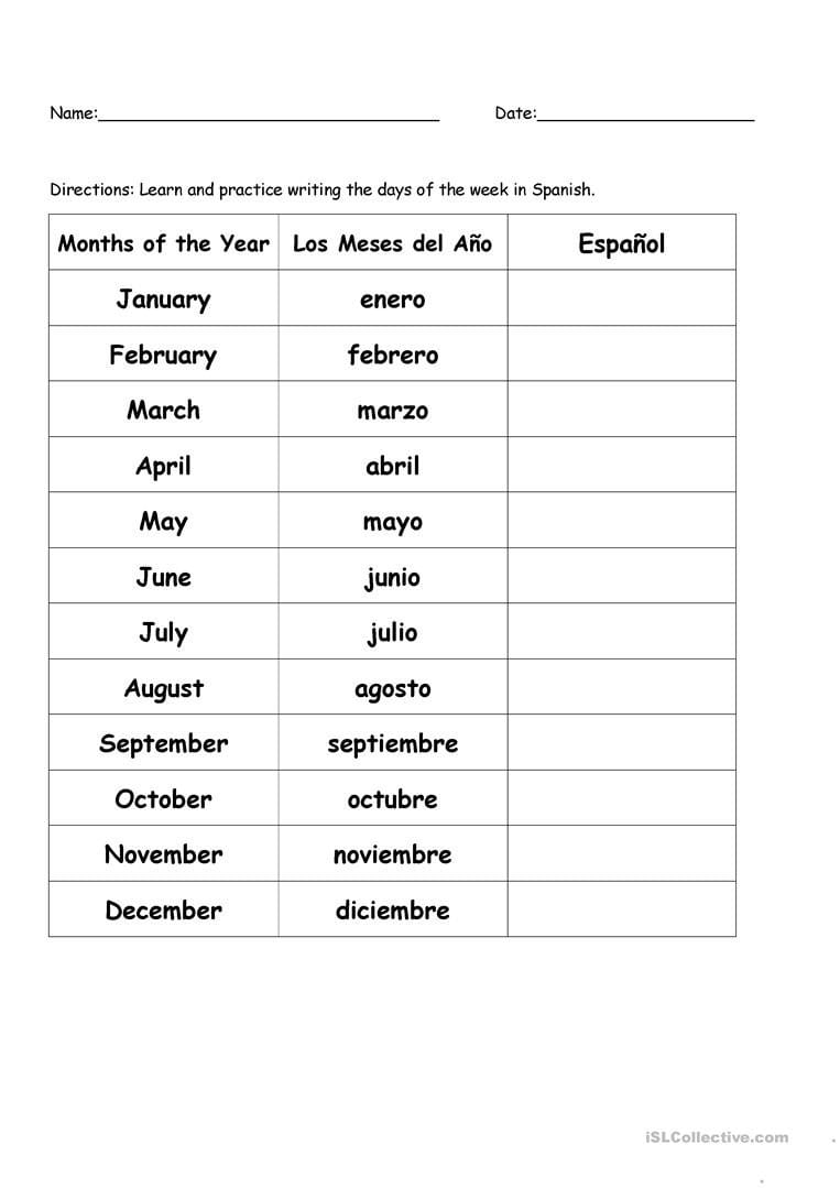 Months Of The Year In Spanish Worksheet  Free Esl Printable In Spanish Worksheets For Beginners