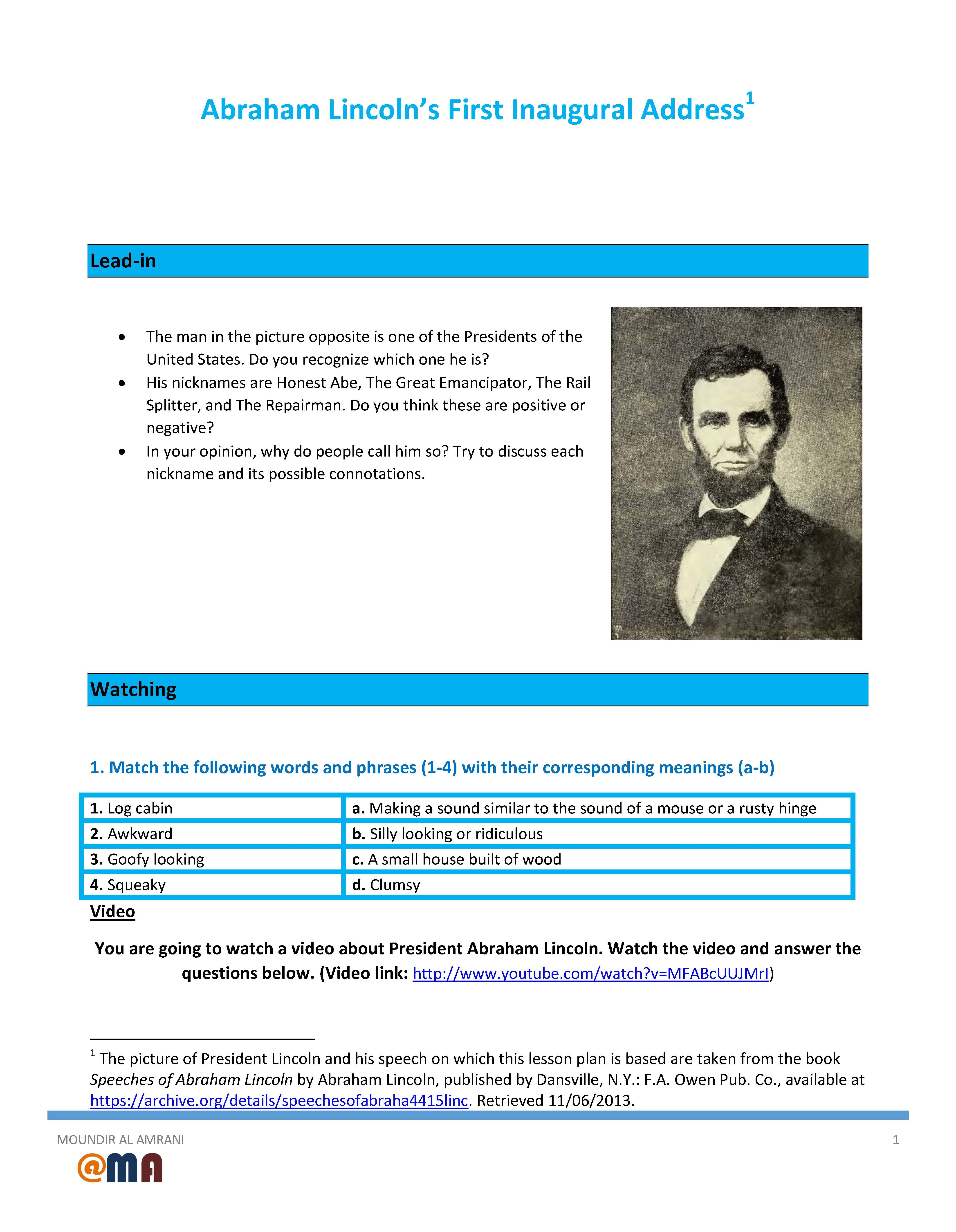 Movie Worksheet Abraham Lincoln's First Inaugural Address With Abraham Lincoln Comprehension Worksheet