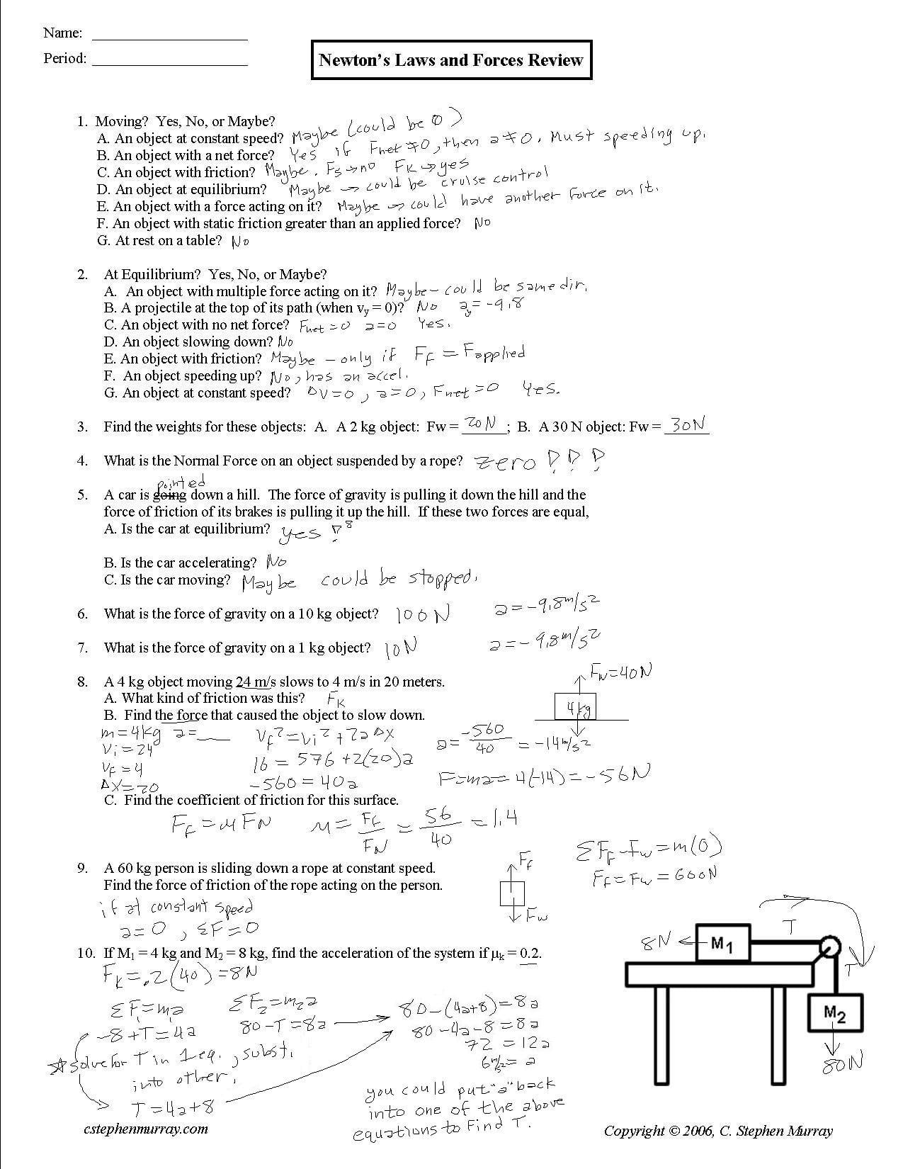 Mr Murray's Website Two Dim Motion For Weight Friction And Equilibrium Worksheet Answers
