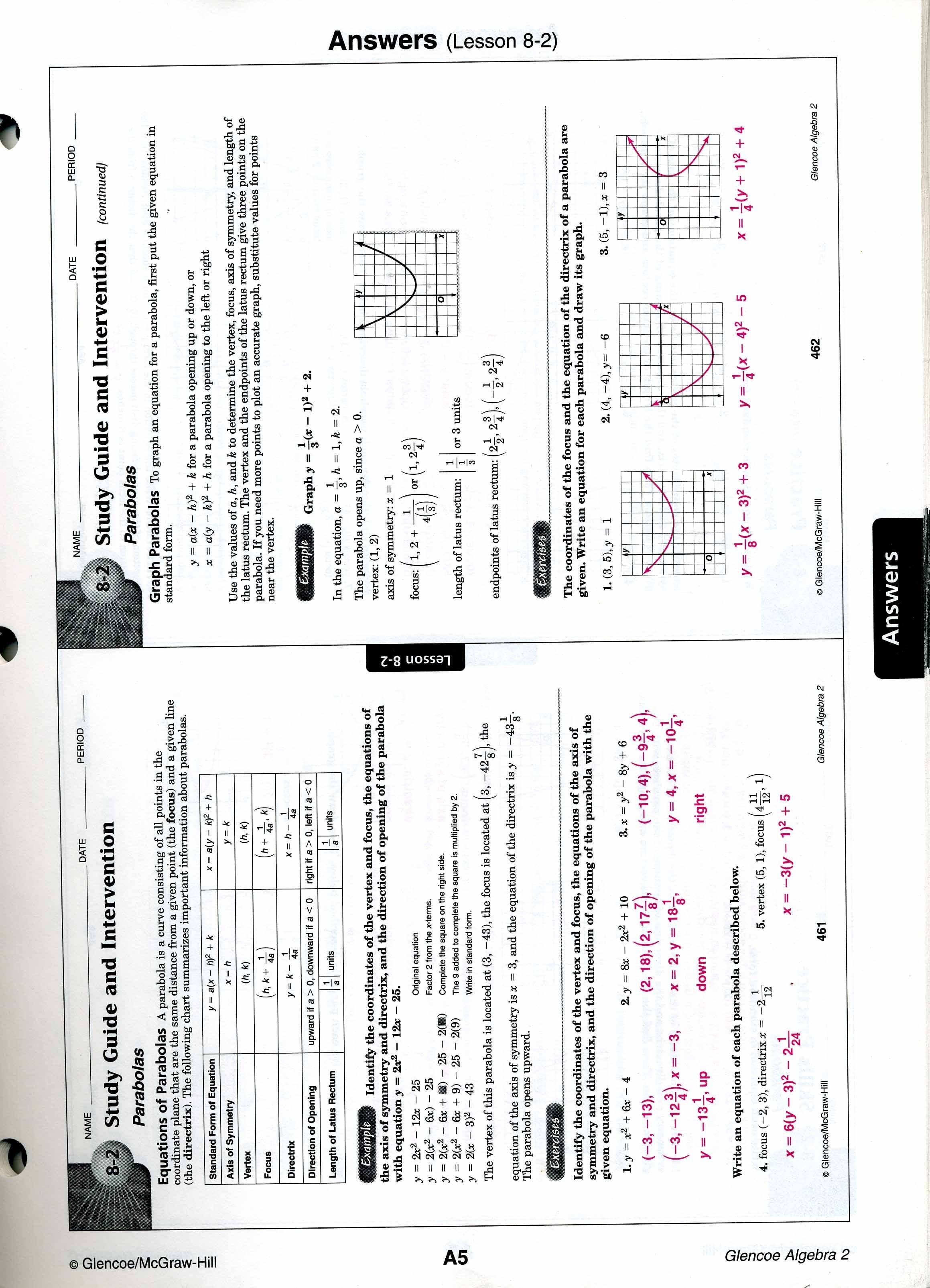 Mrscabral  Algebra 2 Worksheet Answers Throughout Algebra 2 Worksheet Answers