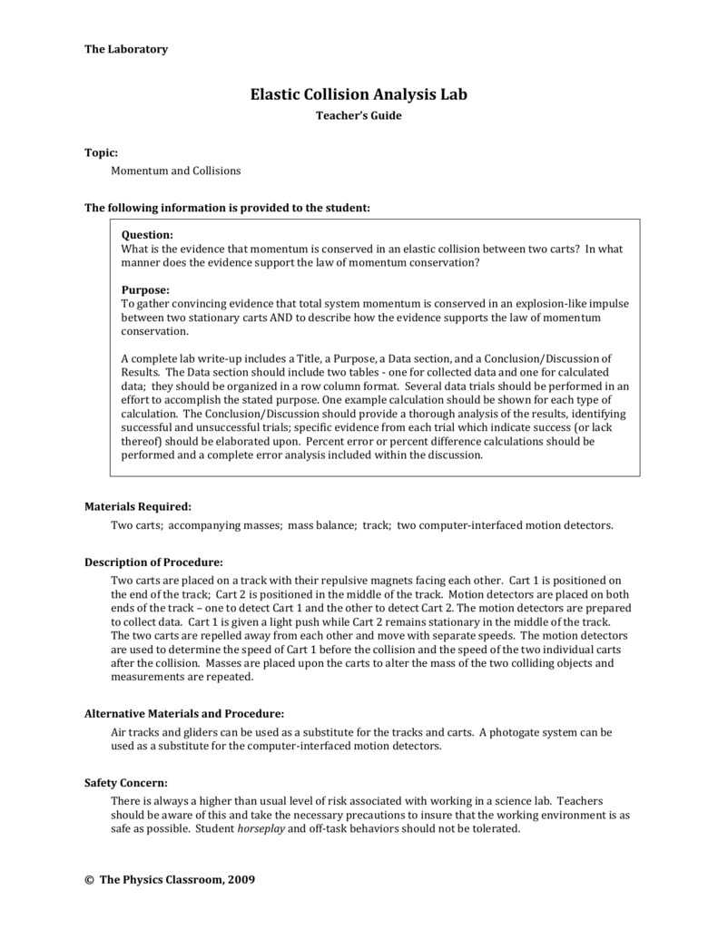 Ms Word  The Physics Classroom Throughout Momentum And Collisions Worksheet Answers Physics Classroom