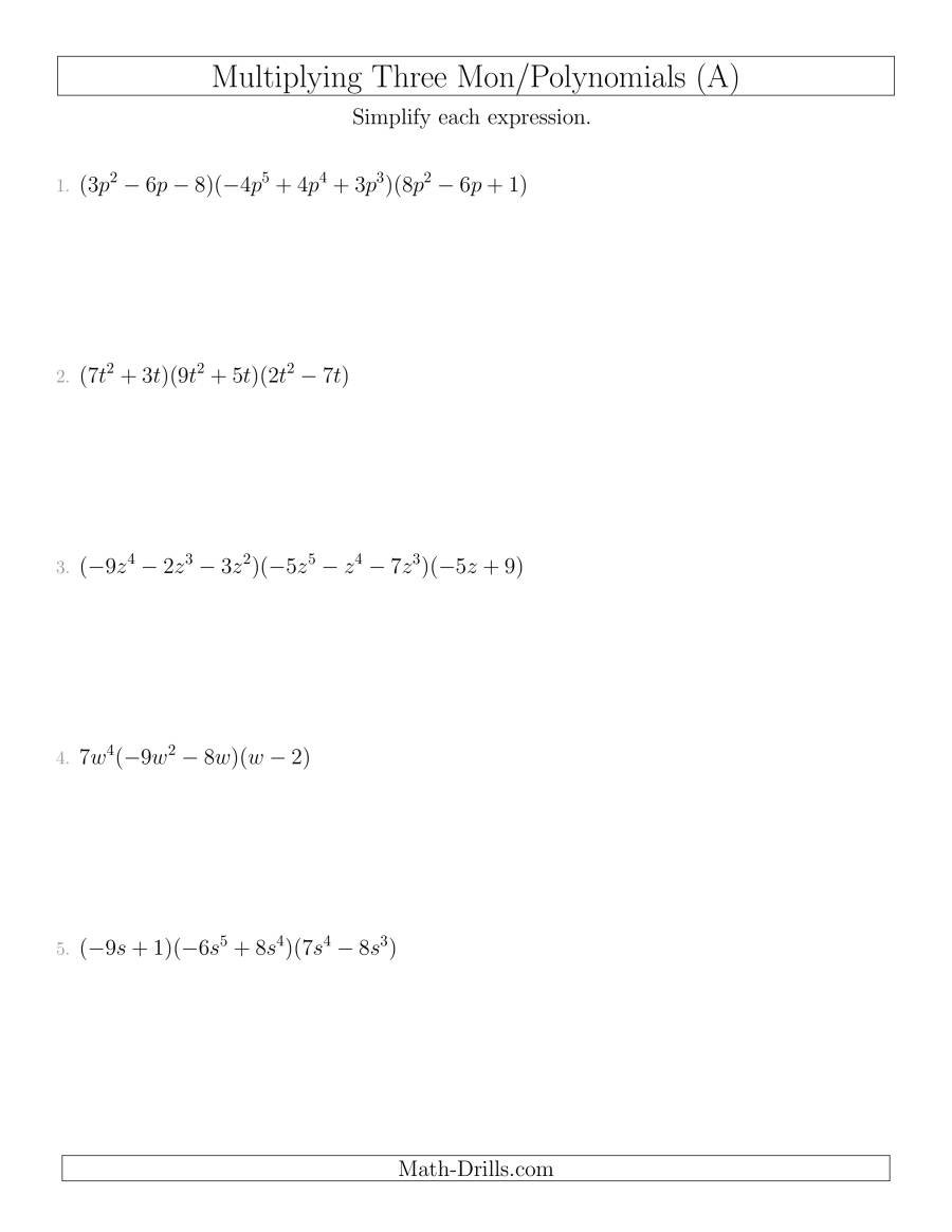 Multiplying Monomials And Polynomials With Three Factors A For Multiplying Monomials Worksheet