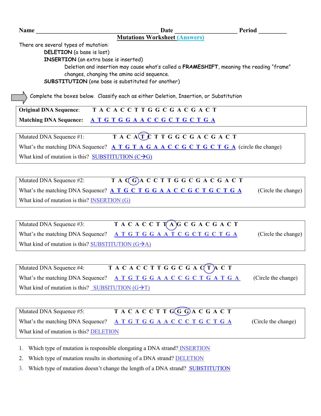 Mutation Answers  Guertinscience For Sickle Cell Anemia Worksheet Answers