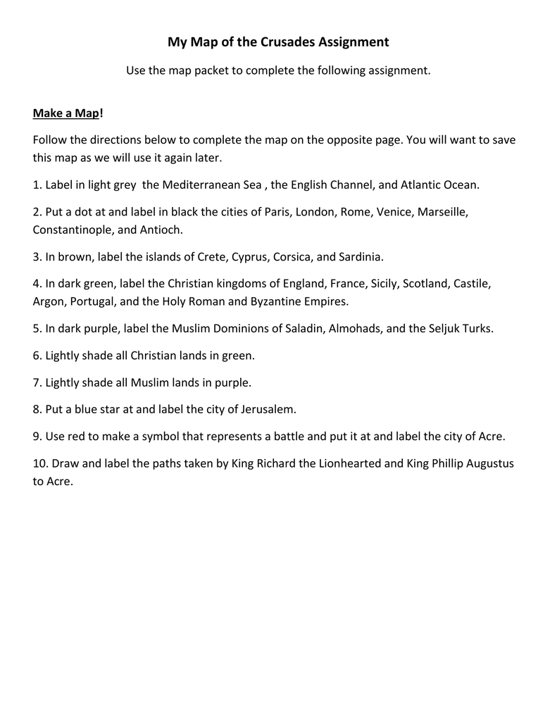 My Crusades Map Activity With The Crusades Map Worksheet Answers
