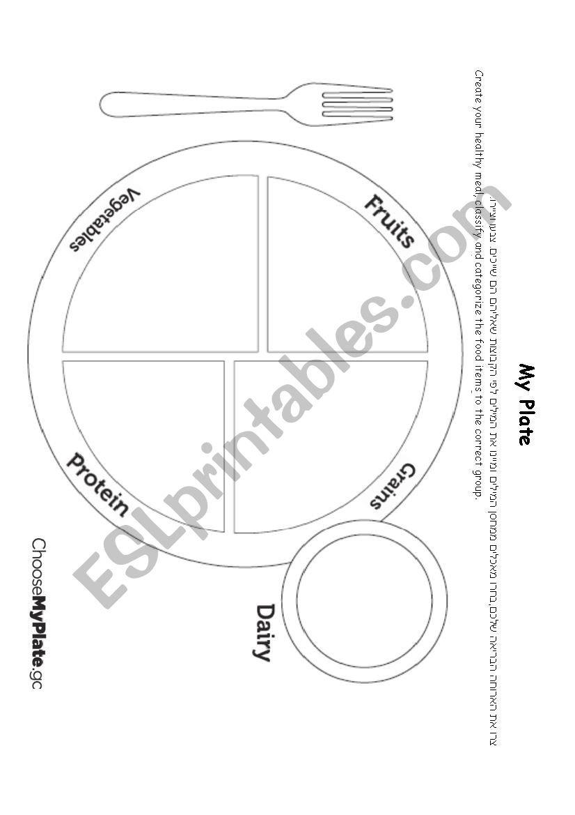My Plate Worksheet  Esl Worksheetnadin Twafra Regarding My Plate Worksheets