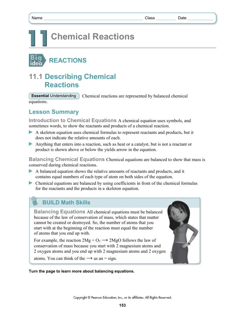 Name Class Date Chemical Reactions Reactions 111 Describing And Introduction To Chemical Reactions Worksheet