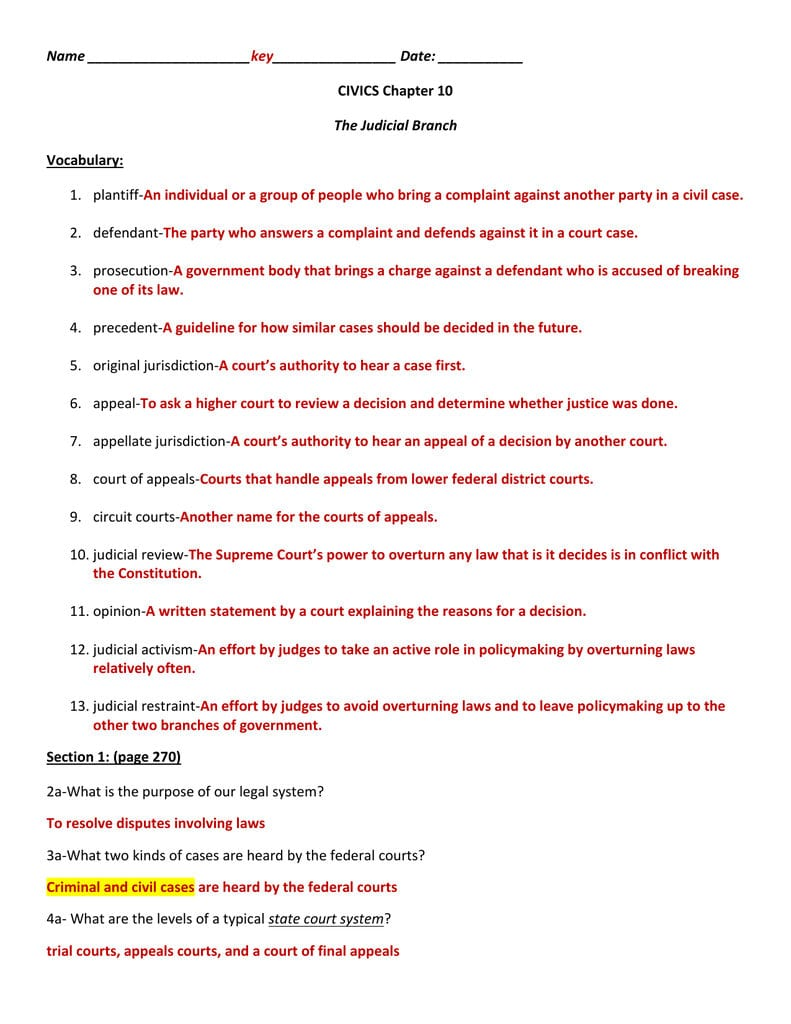 Name Date  Civics Chapter 10 The Judicial Branch And Our Courts The Judicial Branch Worksheet
