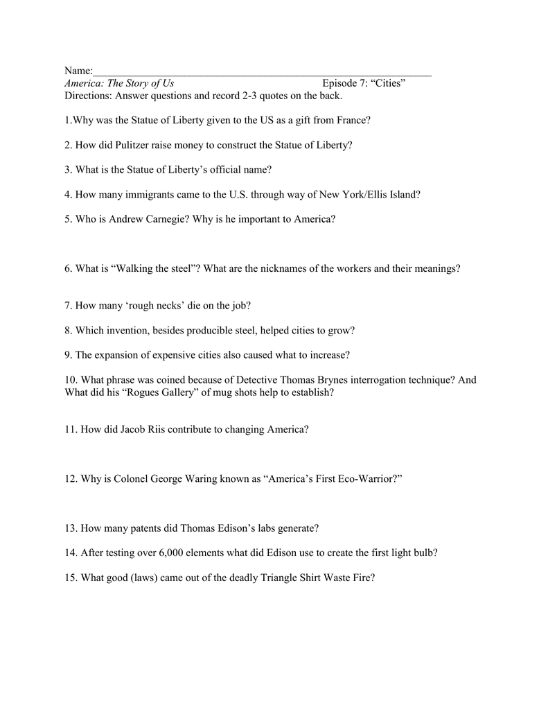 "Name Episode 7 ""Cities"" Throughout America The Story Of Us Episode 8 Worksheet Answer Key"