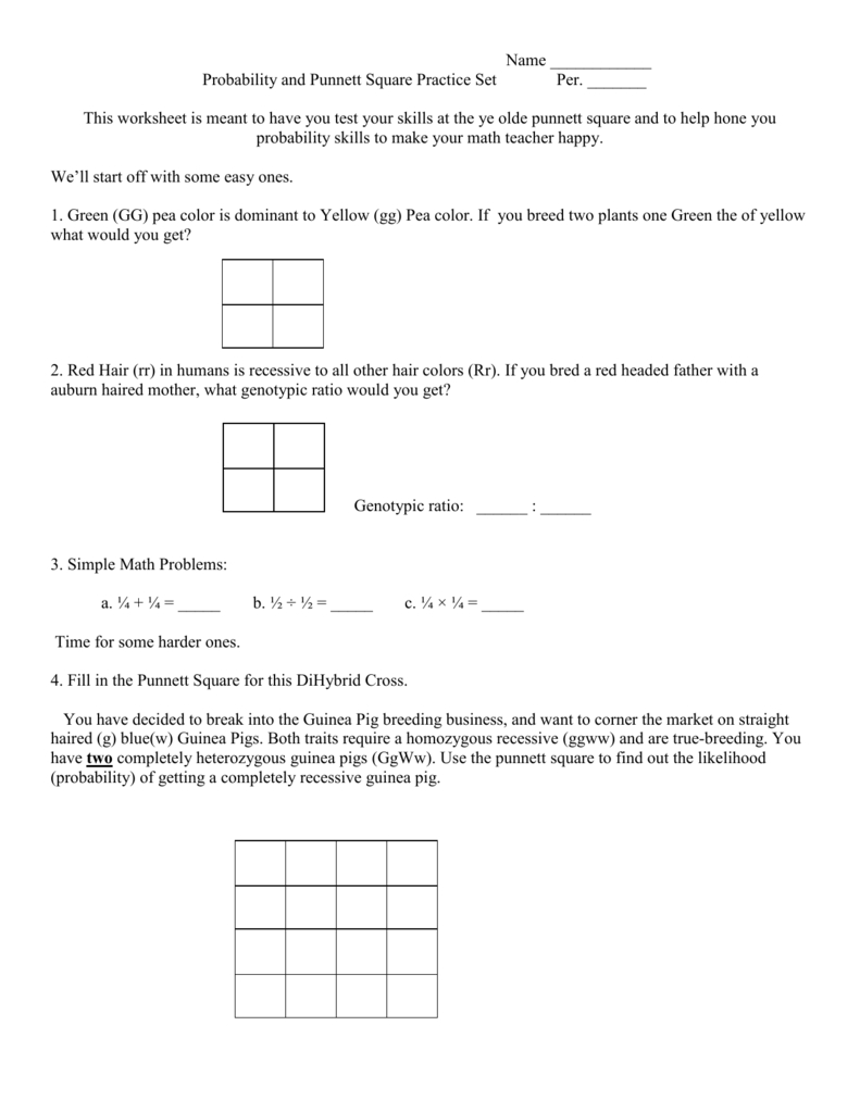 Name  Probability And Punnett Square Practice Set Per With Punnett Square Practice Problems Worksheet