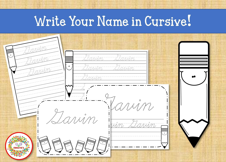 Name Tracing Handwriting Worksheet Personalized Name  Etsy Throughout Custom Name Tracing Worksheets