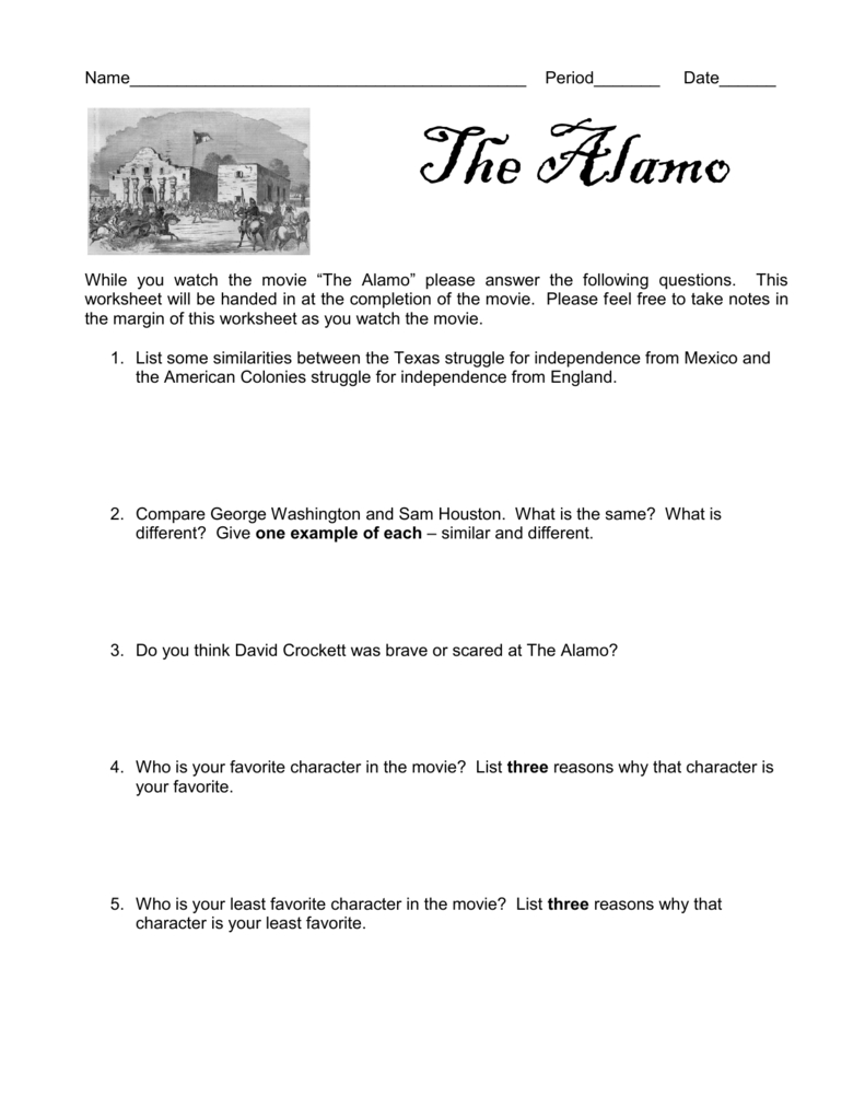 Name With Regard To The Alamo Worksheet Answers