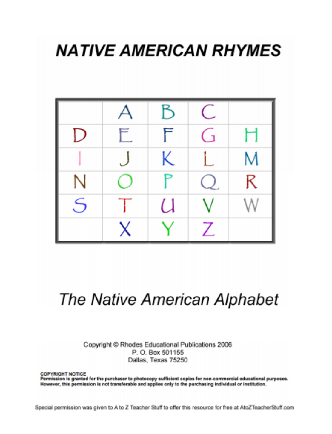 Native American Rhymes Printable Resources  A To Z Teacher Stuff Throughout Native American Worksheets