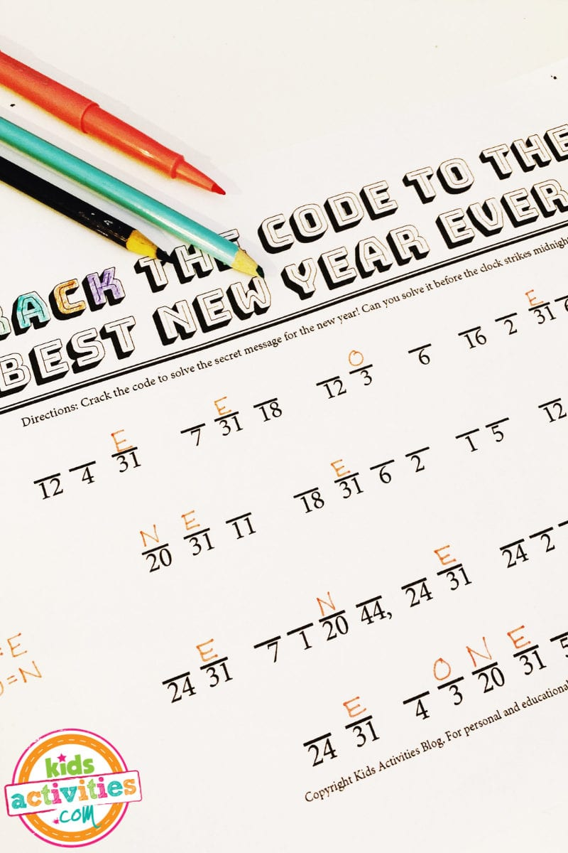 New Year's Secret Code For Kids  Kids Activities Blog For Crack The Code Worksheets Printable Free