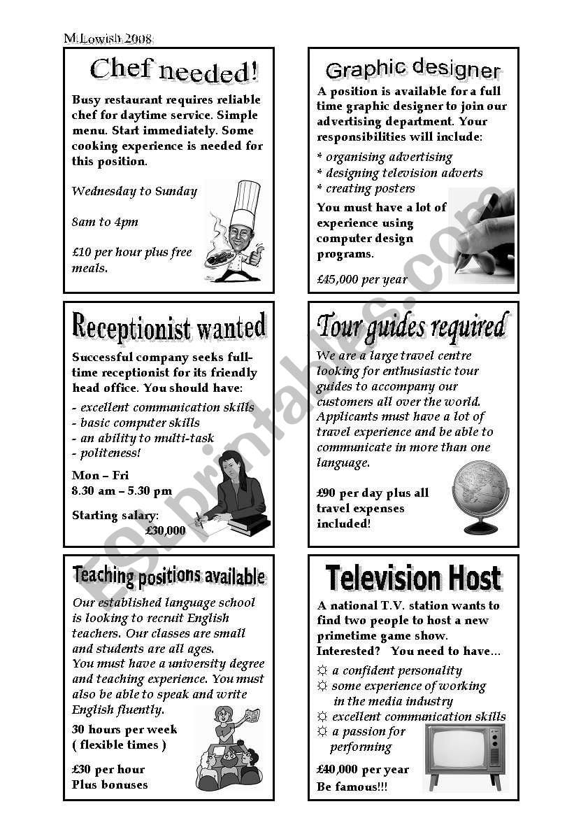 Newspaper Job Advertisements  Esl Worksheetangryparrot Within Reading Help Wanted Ads Worksheets
