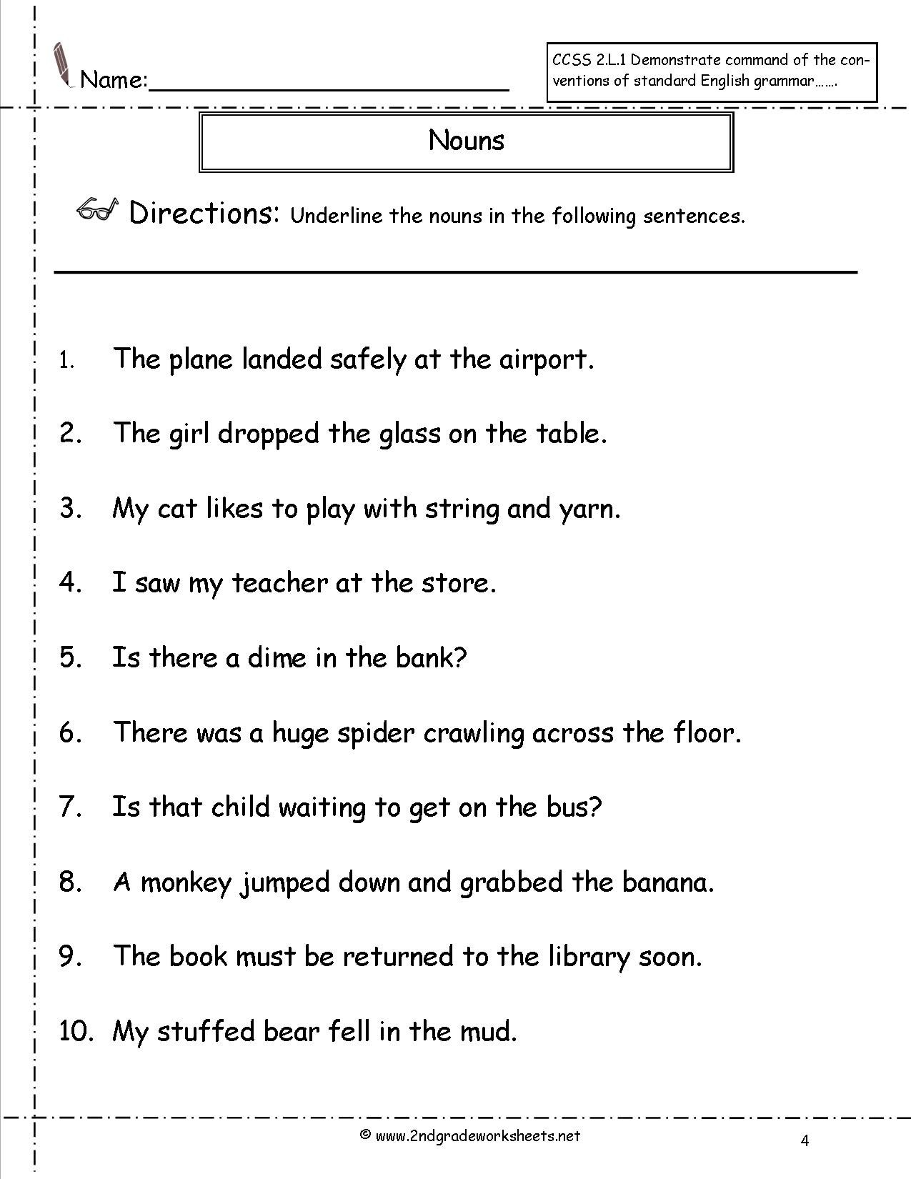Nouns Worksheets And Printouts Intended For Noun Worksheets For Grade 1