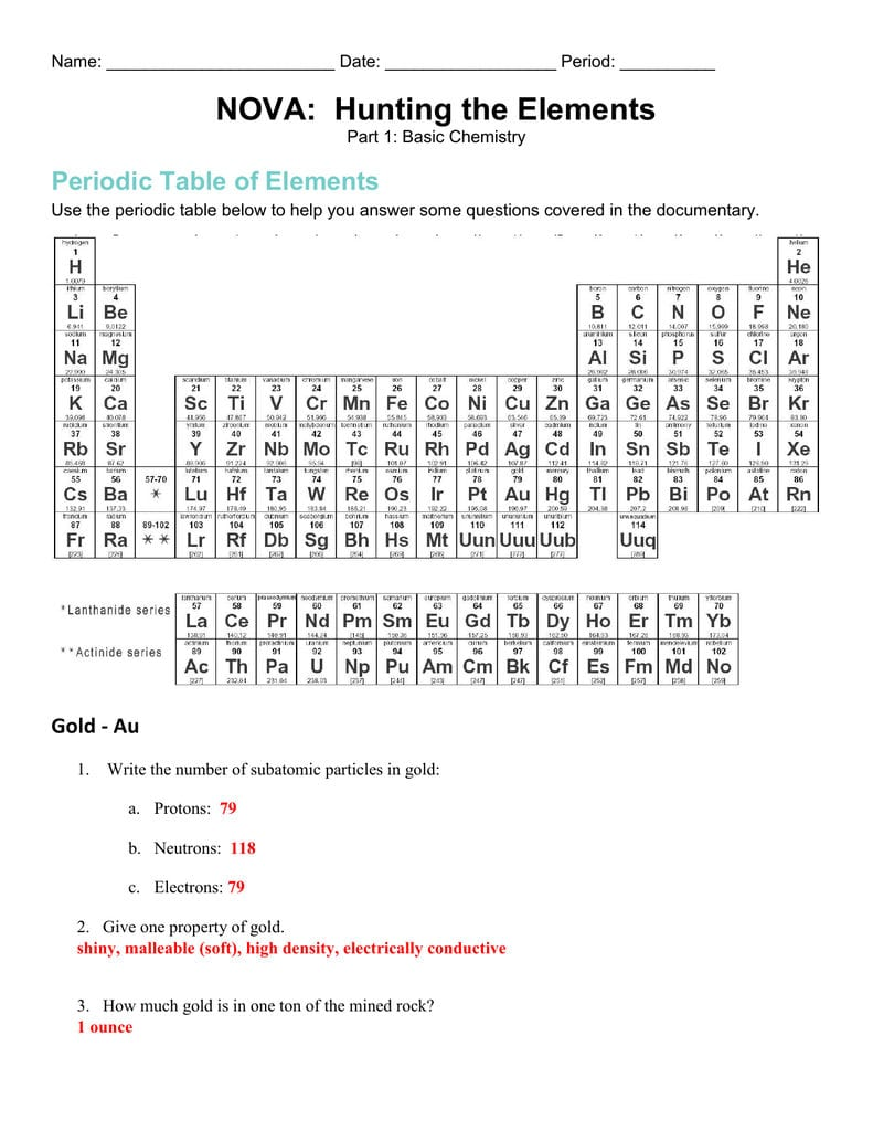 Nova Hunting The Elements Regarding Nova Hunting The Elements Worksheet Answers Pdf