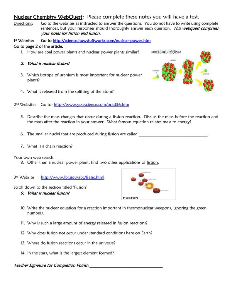 Nuclear Fission And Fusion Fission And Fusion Worksheet For Phase For Fission Fusion Worksheet Answers