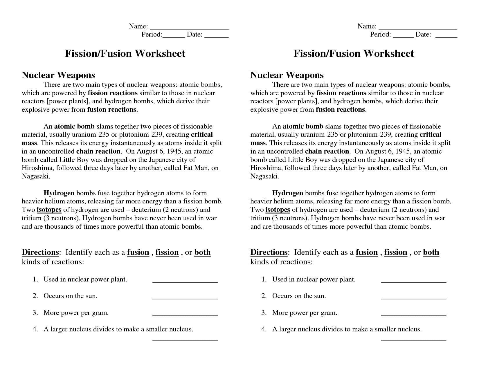 Nuclear Fission And Fusion Worksheet Answers  Soccerphysicsonline And Fission Fusion Worksheet Answers