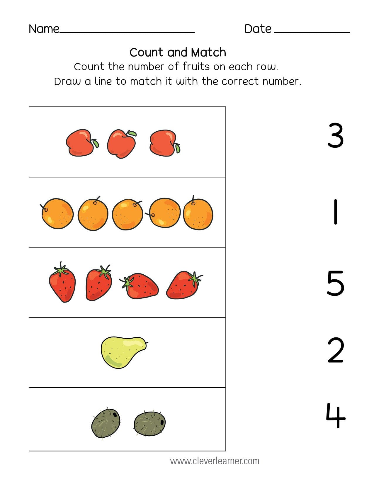 Number Matching Counting And Number Writing Worksheets Also Preschool Matching Worksheets