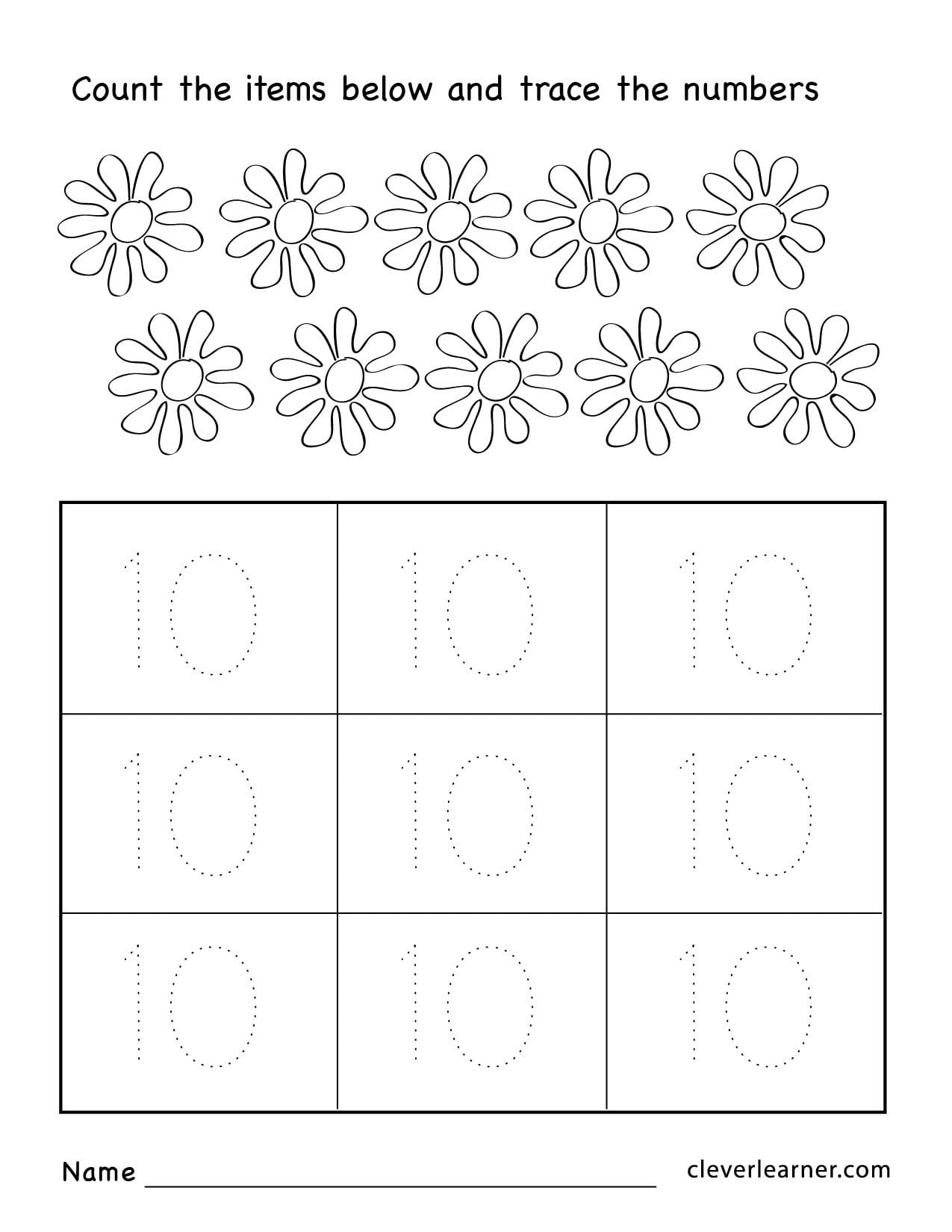 Number Ten Writing Counting And Identification Printable Worksheets Along With Number Worksheets For Kindergarten