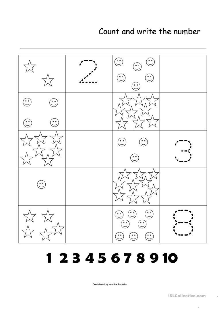 Numbers 1  10 Worksheet  Free Esl Printable Worksheets Made Regarding Number 1 Worksheets