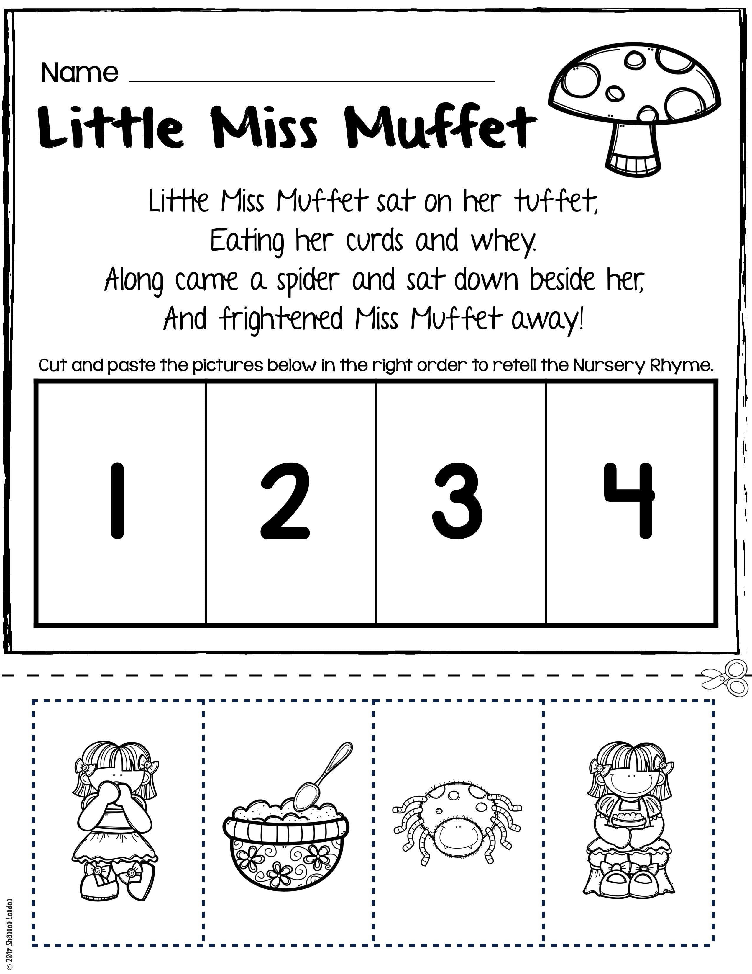 Nursery Rhymes Worksheets For Story Retelling Practice Rhyme Along With Rhyming Worksheets For Preschoolers