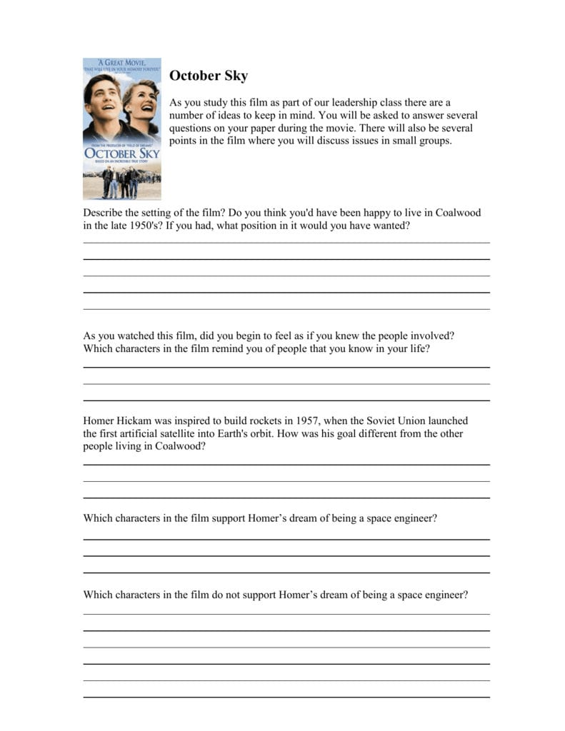 October Sky Questions For Movie Worksheet October Sky Answers