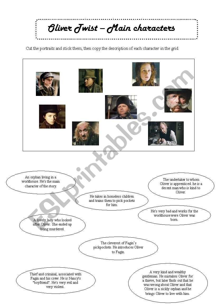 Oliver Twist  Main Characters  Part 1  Esl Worksheetpricess Within Oliver Twist Worksheets Activities