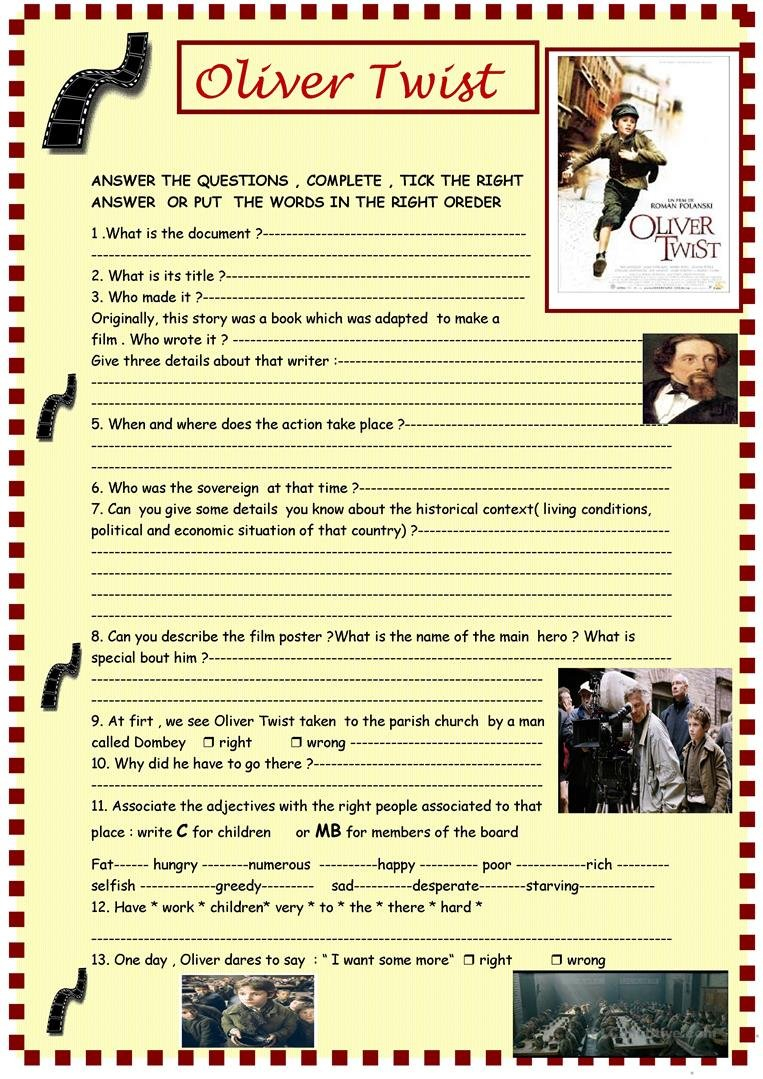 Oliver Twist Polanski's Film Full Review Part 1 Worksheet  Free For Oliver Twist Worksheets Activities