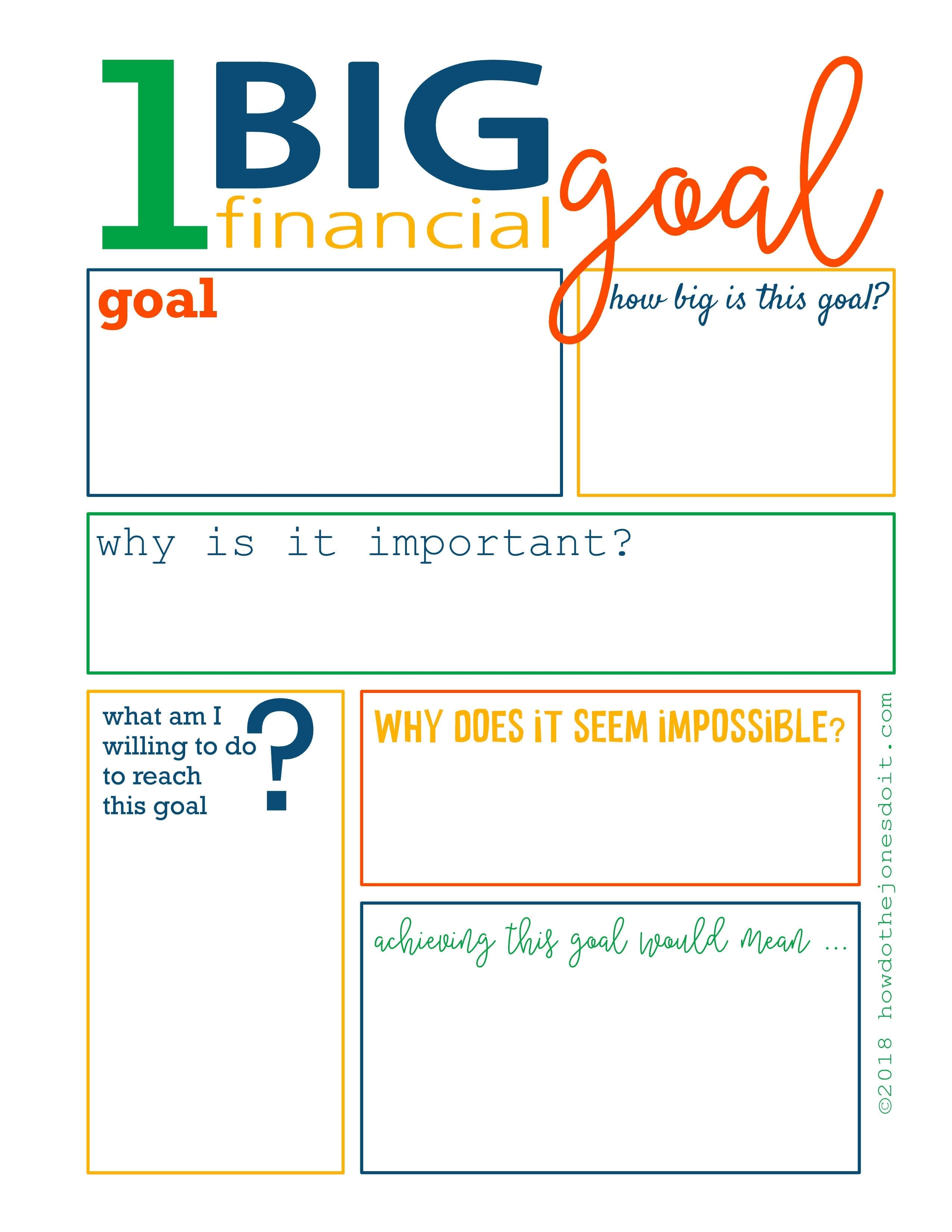 One Big Financial Goal Worksheet  How Do The Jones Do It Pertaining To Financial Goals Worksheet