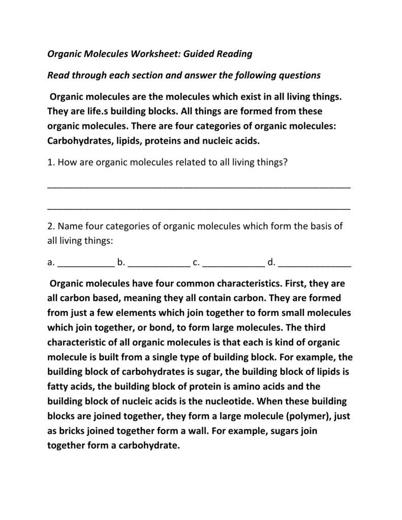 Organic Molecules Worksheet Guided Reading Read Through Each For Organic Molecules Worksheet