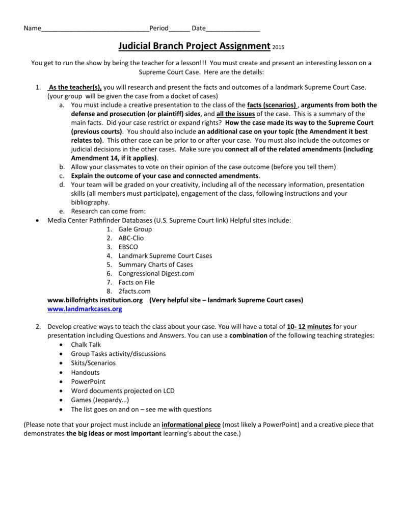 Our Courts The Judicial Branch Worksheet Answers Project Assignment For Our Courts The Judicial Branch Worksheet