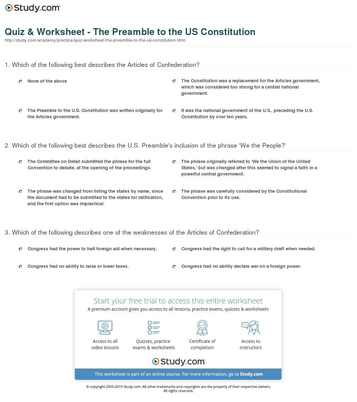 Outline Of The Constitution Worksheet  Yooob Pertaining To Outline Of The Constitution Worksheet
