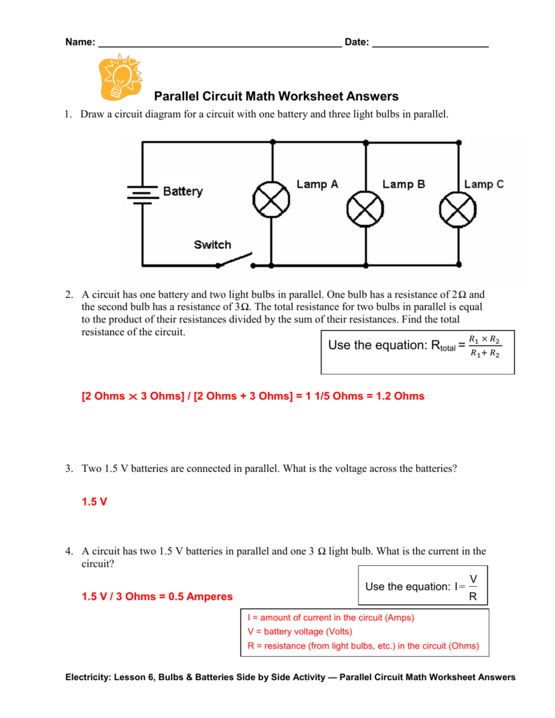Parallel Circuit Math Worksheet Answers Together With Voltage Current And Resistance Worksheet