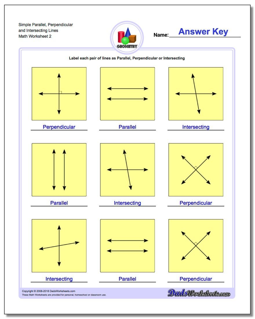 Parallel Perpendicular Intersecting Along With Parallel Perpendicular And Intersecting Lines Worksheet Answers