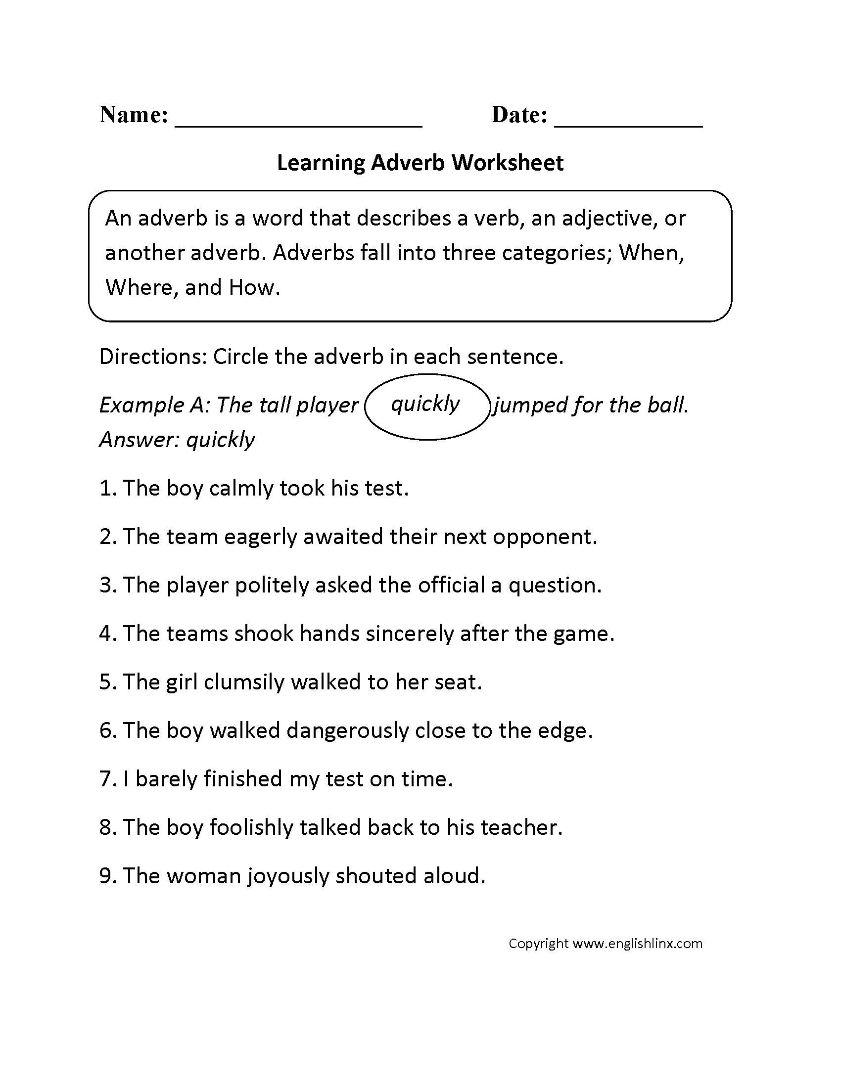 Parts Speech Worksheets  Adverb Worksheets Or Adverb Worksheets Pdf
