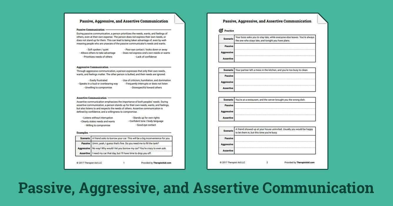 Passive Aggressive And Assertive Communication Worksheet Also Couples Counseling Communication Worksheets