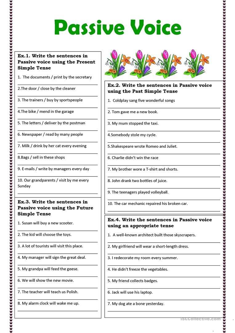 Passive Voice Exercises Worksheet  Free Esl Printable Worksheets With Regard To Passive Voice Worksheets
