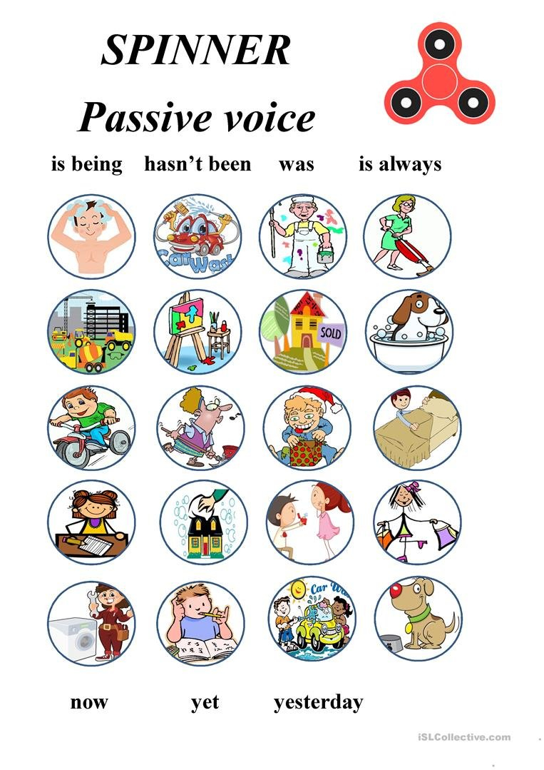 Passive Voice  Fidget Spinner  A Game Worksheet  Free Esl Regarding Fidget Spinner Worksheets
