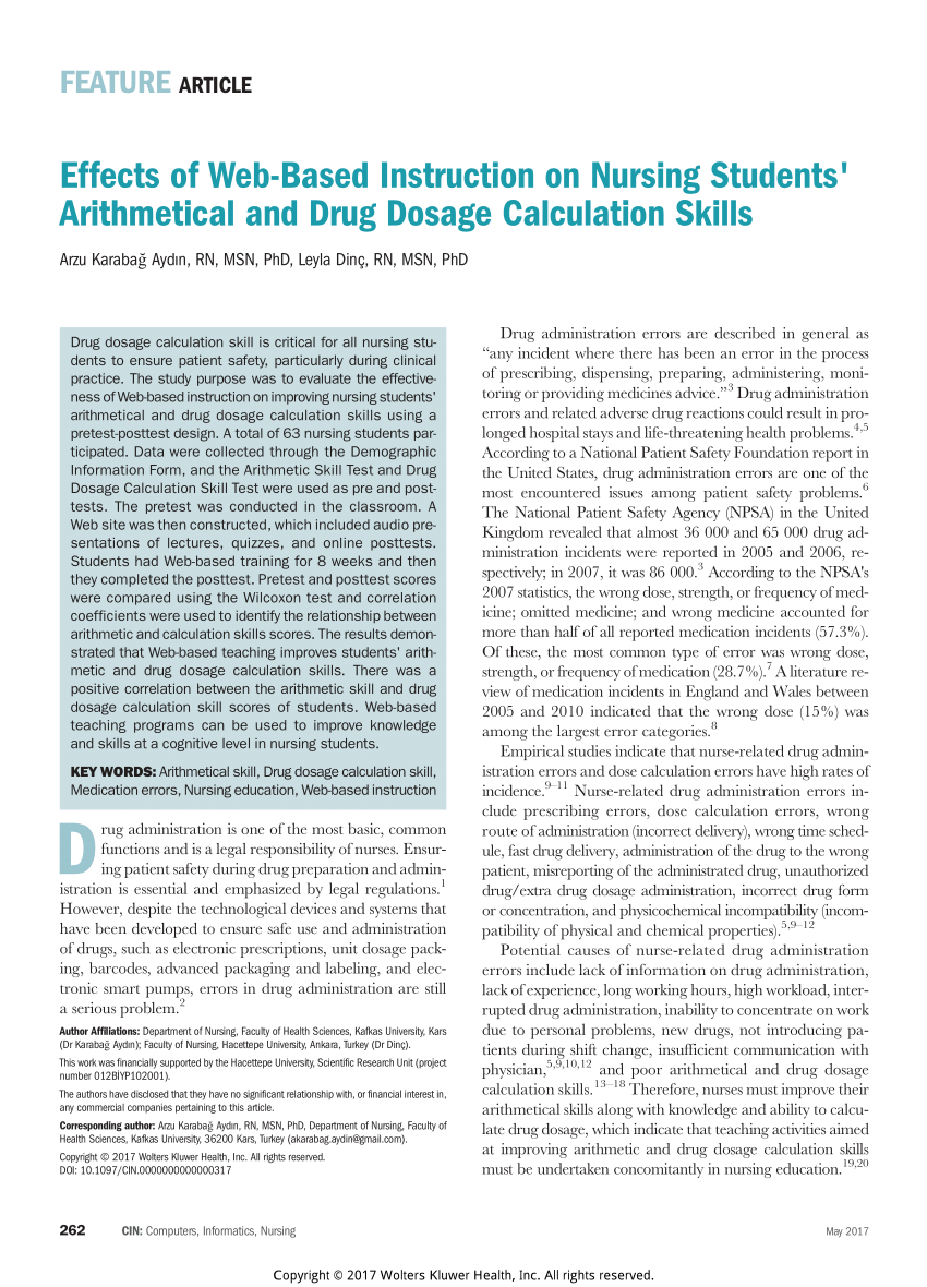Patient Safety Numerical Skills And Drug Calculation Abilities Of Along With Nursing Dosage Calculations Worksheets