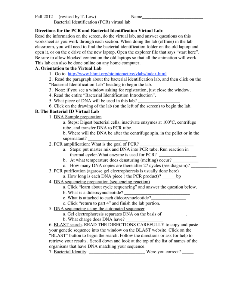Pcr And Bacterial Id Virtual Lab F12 As Well As Bacterial Identification Lab Worksheet Answers