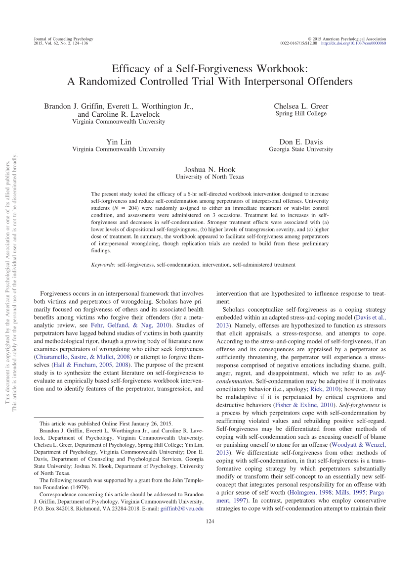 Pdf Efficacy Of A Selfforgiveness Workbook A Randomized Intended For Self Forgiveness Worksheet