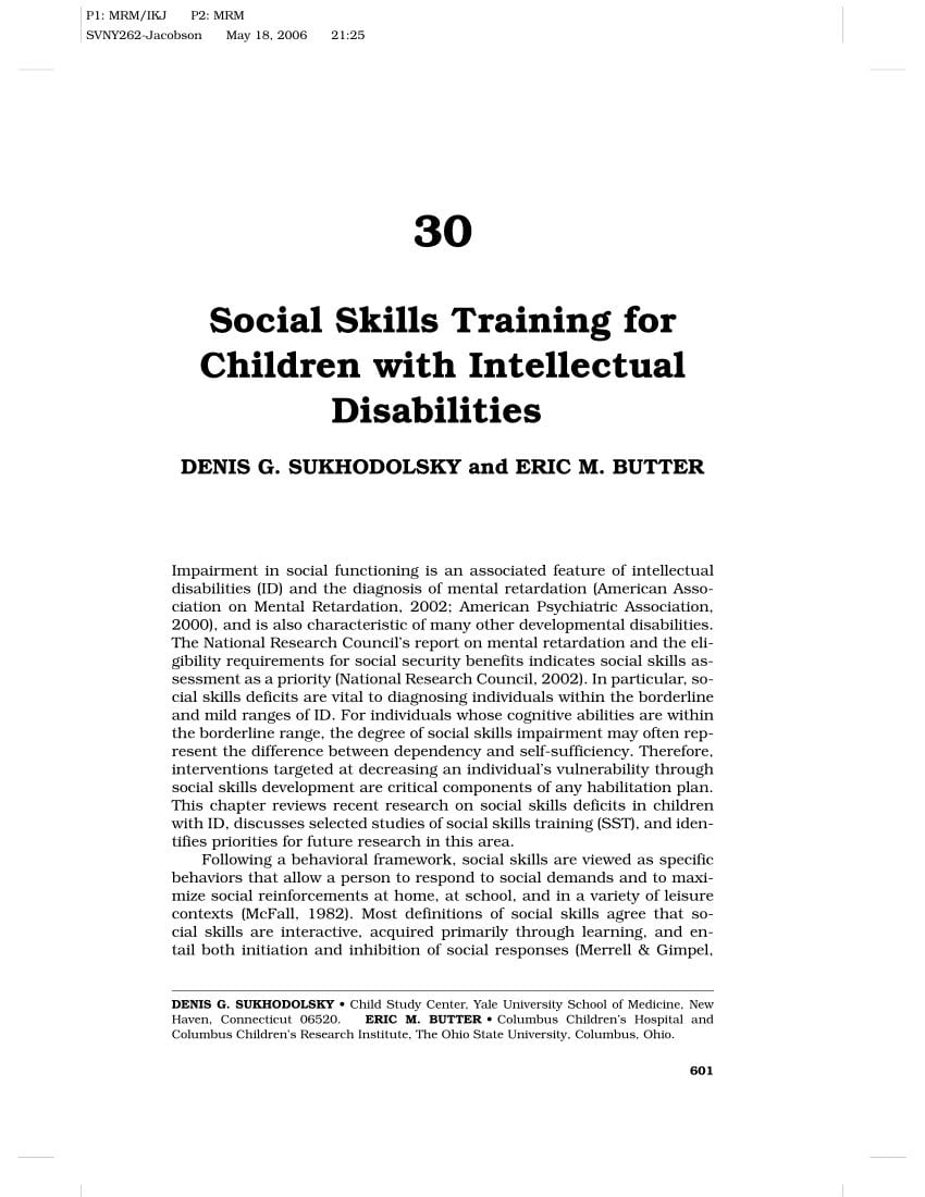 Pdf Social Skills Training For Children With Intellectual Disabilities As Well As Social Skills Training Worksheets Adults