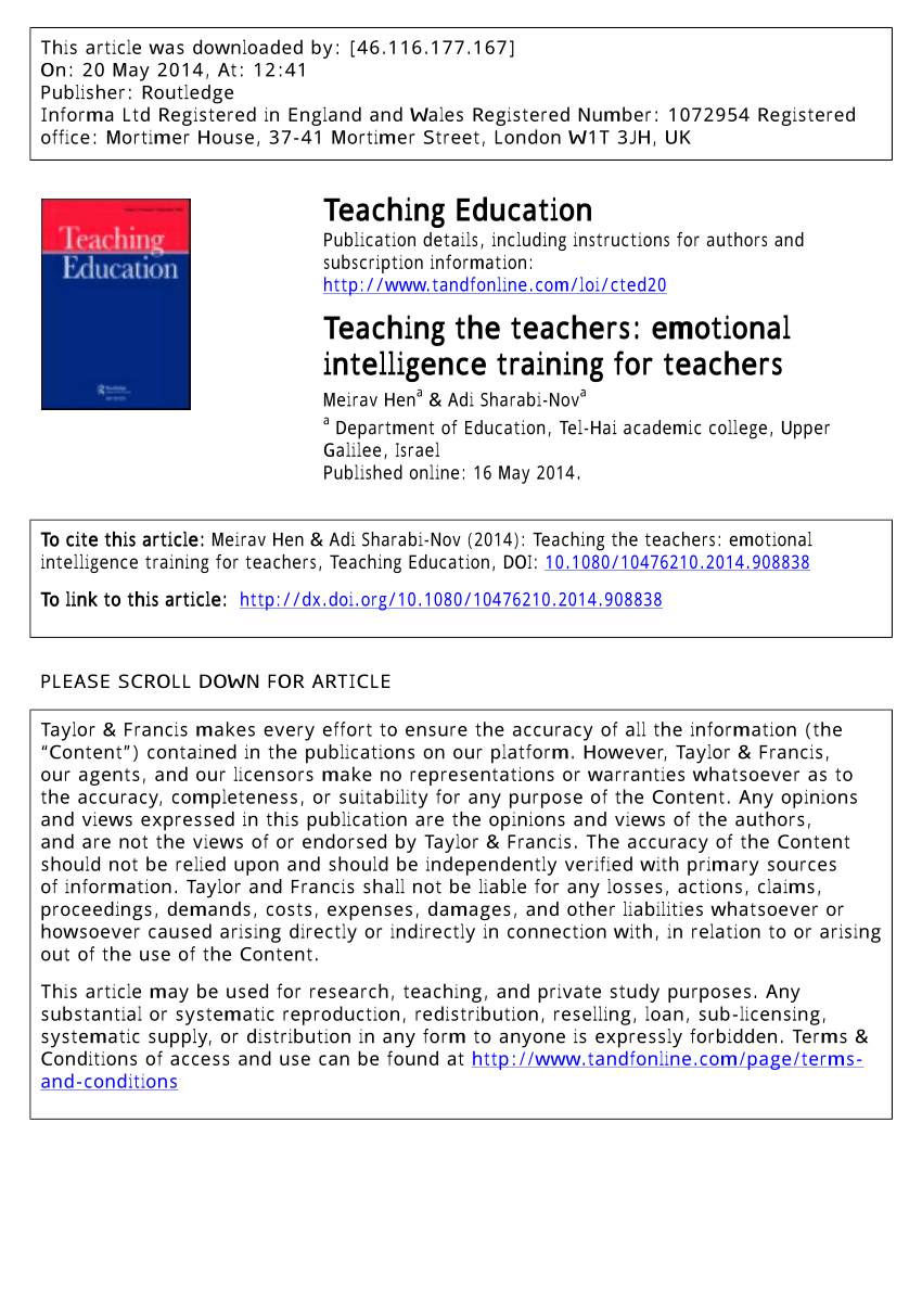 Pdf Teaching The Teachers Emotional Intelligence Training For Teachers With Regard To Emotional Intelligence Worksheets Pdf