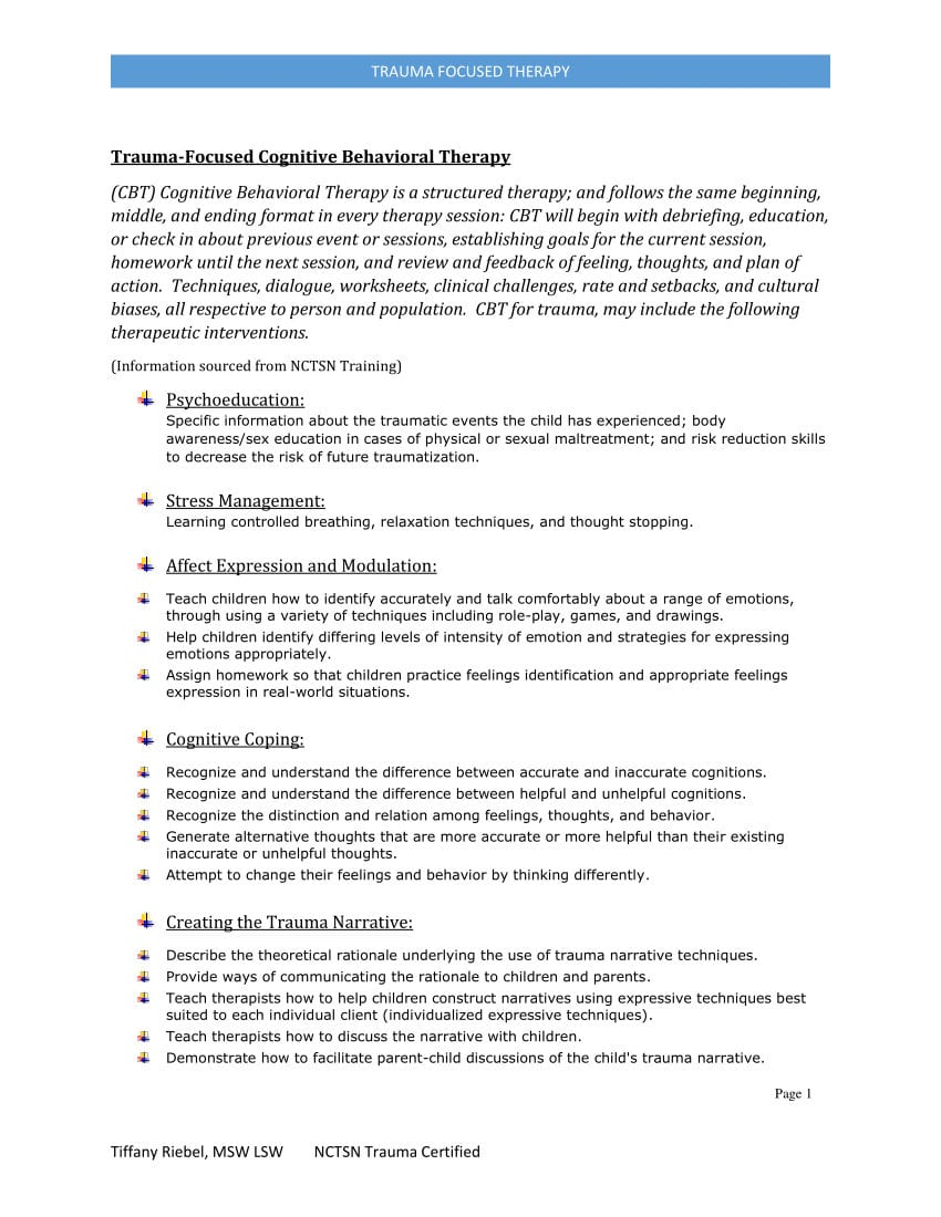 Pdf Traumafocused Cbt Together With Trauma Worksheets Therapy