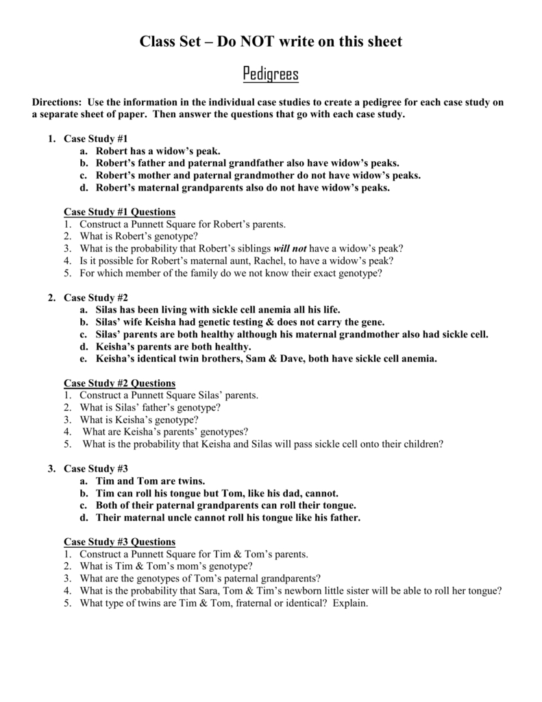Pedigree Worksheet Case Studies Together With Sickle Cell Anemia Pedigree Worksheet